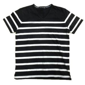 美品 テットオム TETE HOMME ボーダー Vネック Tシャツ カットソー 半袖 M 黒×白 メンズ▼7 メンズ