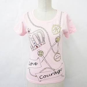 未使用品 プチプードル Petit Poudre カットソー Tシャツ 半袖 丸首 ビジュー プリント 綿 コットン ピンク 黒 ブラック ゴールド M