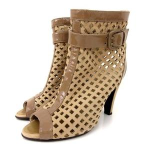 中古 ダイアナ DIANA ブーツサンダル ショートブーツ メッシュ ハイヒール ヌバックレザー エナメル ベルト ベージュ 22cm 靴 レディース