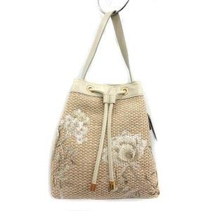 未使用品 エポカ EPOCA ハンドバッグ 巾着型 ワンハンドル 花柄刺繍 フラワー ジュート素材 ベージュ /KH レディース