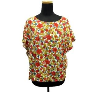美品 グローバルワーク GLOBAL WORK フラワー カットソー プルオーバー シャツ 花柄 フリル M オレンジ×マルチ 赤 白 レディース▼8