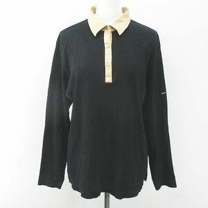 バーバリーゴルフ BURBERRY GOLF ゴルフウェア 長袖 ポロシャツ カットソー LL 黒系 ブラック 日本製 ロゴ 文字 綿 コットン レディース