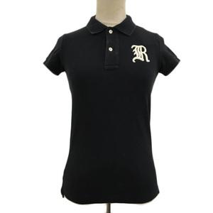 ラルフローレン ラグビー シャツ ポロシャツ 無地 ワンポイント アップリケ 半袖 US XS 黒 白 ブラック ホワイト レディース