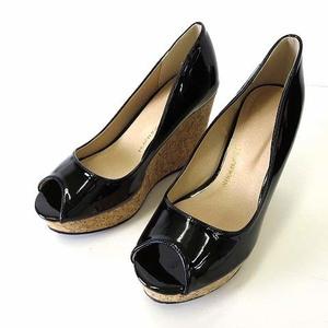 未使用品 ピーチジョン PEACH JOHN パンプス ウエッジパンプス 厚底 オープントゥ エナメル L 24.5㎝ 黒 ブラック 靴 シューズ レディース