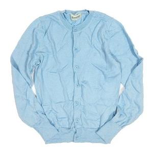 ビームスボーイ BEAMS BOY ニット カーディガン ウール 長袖 ロゴ刺繍 サイズ0 ライトブルー ◎A2 レディース