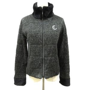 キャロウェイ CALLAWAY ジャケット 中綿 ニット スタンドカラー ゴルフウェア ジップアップ ラメ ロゴ L 黒 ブラック /AAM30 レディース