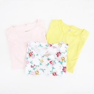 未使用品 ユニクロ UNIQLO Tシャツ カットソー 3枚セット 半袖 丸首 メッシュ ストレッチ 花柄 白 ピンク 黄 ホワイト イエロー L