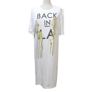 リプレイ REPLAY Tシャツワンピース ロング BACK IN LA マキシ丈 半袖 カットオフ プリント 白 ホワイト S サイドスリット コットン X