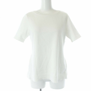 フォクシー FOXEY 17年製 プリーツバックヘムニットトップ セーター クルーネック 半袖 40 M 白 ホワイト 36847 /YT レディース