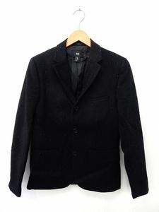 エイチ&エム H&M ジャケット アウター テーラード 毛玉風 ポケット ウール 46 黒 ブラック /ST26 レディース