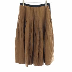 マーガレットハウエル MARGARET HOWELL 18SS DENSE FINE LINEN POPLIN スカート フレア ロング 麻 リネン 2 M 茶 ブラウン /KH レディース