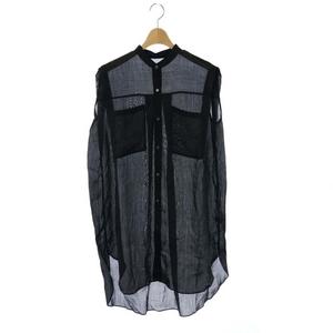ロペ ROPE 21SS バンドカラースリーブレスロング丈シャツ シアーシャツ ノースリーブ 38 黒 ブラック /DF ■OS レディース