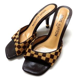 ルイヴィトン LOUIS VUITTON ダミエ・ソバージュ サンダル ミュール 靴 35.5 ブラウン 茶 レディース