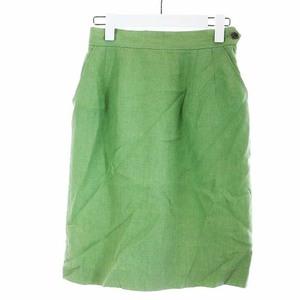 マーガレットハウエル MARGARET HOWELL タイトスカート ひざ丈 リネン 麻 2 M 緑 グリーン /YI37 レディース