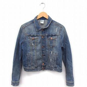 エイチ&エム H&M ジャケット アウター デニム Gジャン 長袖 ダメージ加工 38 ブルー 青 /FT31 レディース