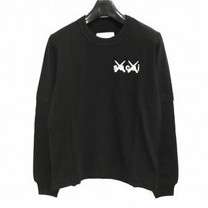 未使用品 サカイ sacai × カウズ KAWS 21SS FlockPrintLongSleeve T-Shirt ロングスリーブ Tシャツ ロンT カットソー 長袖 黒 ブラック 0
