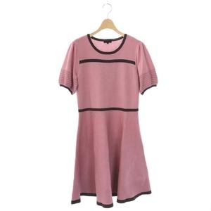 トゥービーシック TO BE CHIC アセテートナイロンニットドレス ワンピース 五分袖 ひざ丈 フレア 44 ピンク /CM ■OS レディース