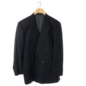 イレブンスーツ ELEVEN SUIT テーラードジャケット ストライプ 背抜き ウール イタリア製 AB6 紺 ネイビー /SA ■OS