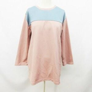 未使用品 アーバンリサーチ URBAN RESEARCH Tシャツ カットソー 七分袖 メッシュ切替 丸首 40(L相当) ピンク系 青 ブルー系 レディース