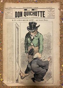 Antique French NewsPaper[Don Quichotte] フランス アンティーク 新聞 風刺画 古書 古紙 洋書 骨董 ポスター ビンテージ アート本 8