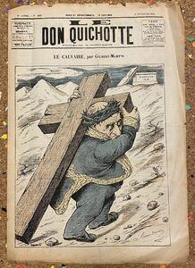 Antique French NewsPaper[Don Quichotte] フランス アンティーク 新聞 風刺画 古書 古紙 洋書 骨董 ポスター ビンテージ アート本 6