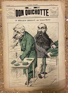 Antique French NewsPaper[Don Quichotte] フランス アンティーク 新聞 風刺画 古書 古紙 洋書 骨董 ポスター ビンテージ アート 10