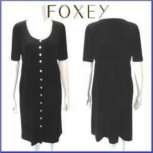 【美品】 フォクシー FOXEY RABBITS ベロア ブラウス ワンピース ドレス ゆったり ギャザー 銀ボタン サイズ38 ブラック 黒