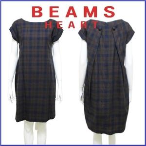 ビームスハート BEAMS HEART チェック ロールアップ ワンピース ドレス シンプル可愛い ネイビー ブラウン レディース