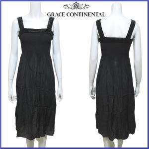 美品 グレースコンチネンタル GRACE CONTINENTAL パーティドレス ワンピース キャミ ベロア シフォン プリーツ加工 36 ブラック レディース