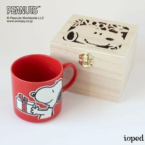 スヌーピー 木箱入り日本製マグカップ SNOOPY PEANUTS(ピーナッツ) ハッピーホリデー柄 WOODSTOCK(ウッドストック)レッド 350ml