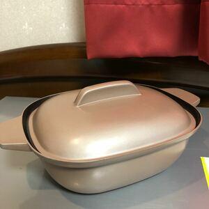 セラミックコーティング 角型仕切り鍋(2色鍋・ダブル鍋)