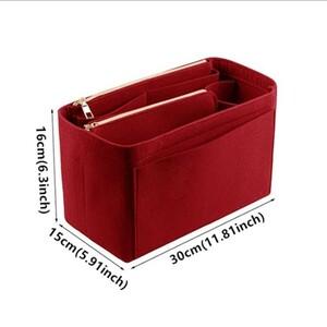 レッド バッグインバッグ インナーバッグ 大容量 フェルト 軽量 高級感