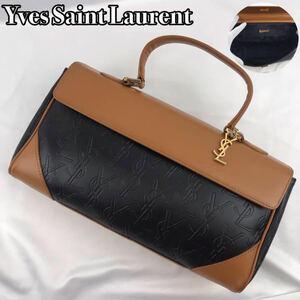 【美品】Yves Saint Laurent イヴサンローラン ハンドバッグ YSLロゴ 裏地総柄 ゴールド金具 ミニ ボストン エンボス加工 チャーム レザー