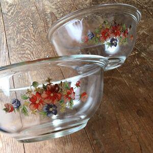 昭和レトロ ガラス製ボウル 大小2個セット/直径22.5cm・19cm 花柄 昭和レトロ