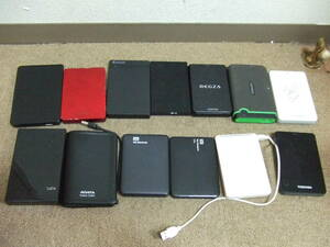 T866 Toshiba /WD/ other attached outside portable HDD 13 pcs together summarize used Junk