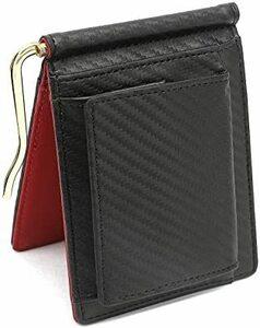 レッド Querencia マネークリップ 小銭入れ付き 本革 メンズ 財布 二つ折り 薄い財布