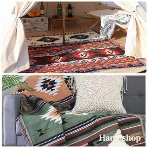 アウトドア キャンプ グランピング ラグマット ブランケット キリム オルテガ 民族柄 緑 ポリコットン 車中泊 テント コットに