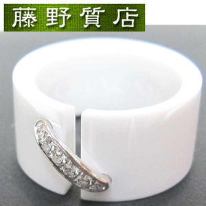 (美品)ショーメ CHAUMET リアン ドゥ ショーメ リング 指輪 白 セラミック K18 WG ダイヤモンド #49(約 9号 ) 保証書 8691