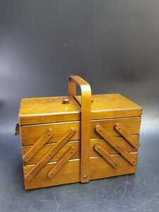 裁縫箱 3段 スライドソーイングボックス 木製 幅約37cm 収納箱 小物入れ 木箱 レトロ ヴィンテージ