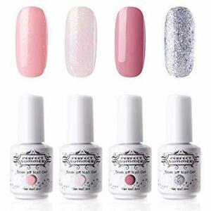 〈桜色〉 ジェルネイル カラージェル 8ml 4色セット UV/LED対応 ポリッシュタイプ 桜色 ピンク ラメ