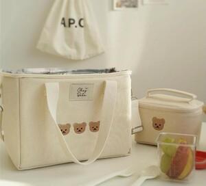 コンパクト保冷バッグ くまさん刺繍わ ミニマザーズバッグ  ランチバッグ