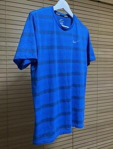 【激安 国内正規品】NIKE RUNNING ナイキ ランニング DRI-FIT ドライフィット ポケット付き 半袖 ボーダー Tシャツ XL ブルー系 USED