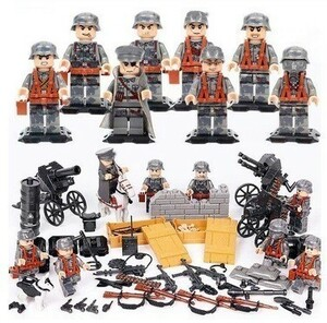 LEGO レゴ ブロック 互換 WW2 第二次世界大戦 ドイツ軍 ナチス 指揮官 兵士 ミニフィグ 8体セット 大量武器・装備・兵器付き YLH427