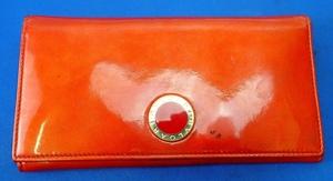 ◎中古 BVLGARI ブルガリ エナメル 長財布 二つ折り ウォレット レッド系
