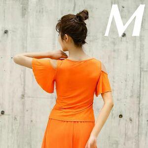 ブラトップ 袖フリル ヨガウェア トップス 半袖 スポーツブラ ヨガブラ オレンジ色 Mサイズ