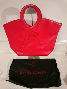 ROBERTA DI CAMERINO ロベルタディカメリーノ 牛 革レザー ハンドバッグ 赤 櫻D0901-11