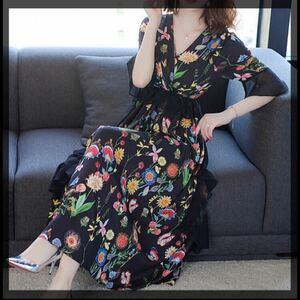 ロングワンピース 秋服 秋服ワンピース 花柄 ブラックドレス パーティドレス マキシワンピース 韓国ファッション 2次会 結婚式