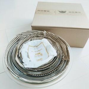 イワキ 耐熱 ガラスボウル 5点セット 新品 透明 ガラスボール 電子レンジ.オーブンOK パイレックス