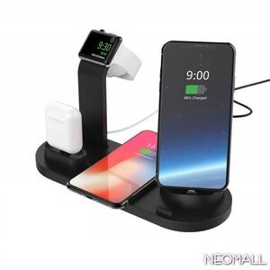 Qi ワイヤレスチャージャー 4 in 1 【003】ブラック ワイヤレス充電器 10W / 7.5W / 5W 急速充電器 apple watch スタンド Android iPhone