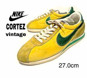 vintage◆ NIKE /ナイキ◆ コルテッツ CORTEZ Classic 27.0cm イエロー/グリーン クリーニング&メンテナンス済 コレクション
